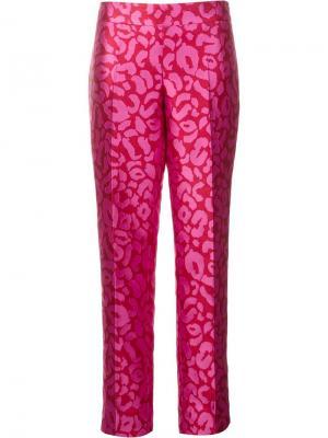 Леопардовые жаккардовые брюки Oscar de la Renta. Цвет: розовый и фиолетовый