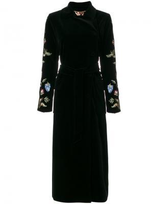 Embroidered trench coat Bazar Deluxe. Цвет: чёрный
