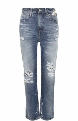 Укороченные джинсы с потертостями и вышивкой Ag. Цвет: синий