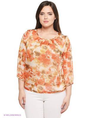 Блузка Sun&Art. Цвет: бежевый, оранжевый