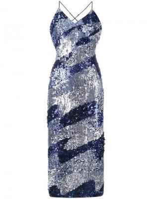 Платье с пайетками House Of Holland. Цвет: синий