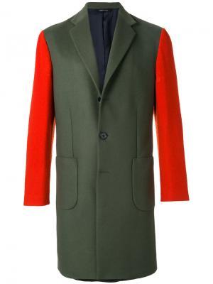 Пальто дизайна колор-блок Lc23. Цвет: зелёный