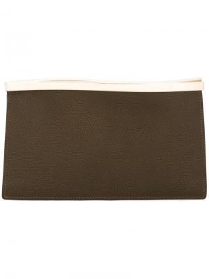 Клатч с волнистым дизайном Valextra. Цвет: коричневый