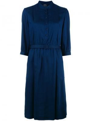 Pleated shirt dress A.P.C.. Цвет: синий