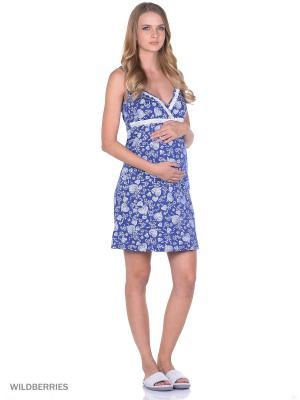 Ночная сорочка для беременных и кормящих ФЭСТ. Цвет: синий, белый