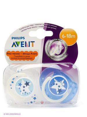 Пустышки Philips Avent SCF176/22 ночная серия, 2 шт., 6-18 мес.. Цвет: голубой, синий