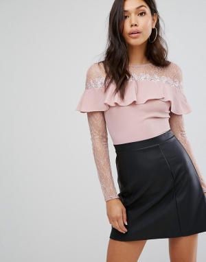 Lipsy Короткое приталенное платье 2 в 1 с длинными рукавами. Цвет: черный