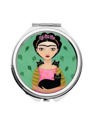 Зеркальце карманное Фрида Chocopony. Цвет: светло-зеленый, розовый, черный