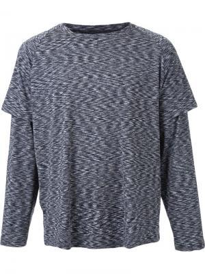 Многослойная футболка с длинными рукавами Ovadia & Sons. Цвет: серый