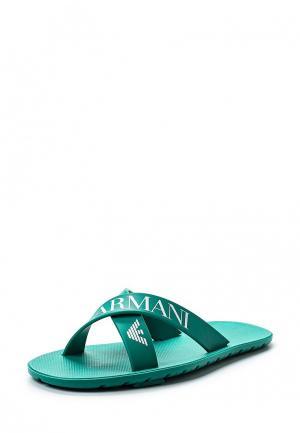 Сланцы Armani Junior. Цвет: зеленый