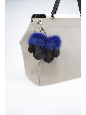 Брелок Меховые-рукавички Mex-Style. Цвет: синий, лазурный, темно-коричневый