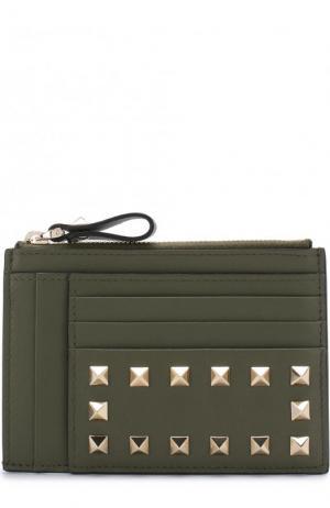Кожаный футляр для кредитных карт Rockstud Valentino. Цвет: оливковый