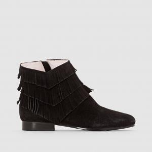 Ботинки замшевые на каблуке с бахромой Abile MELLOW YELLOW. Цвет: черный