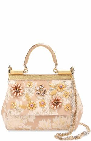 Сумка Sicily small с отделкой кристаллами Limited edition Dolce & Gabbana. Цвет: золотой