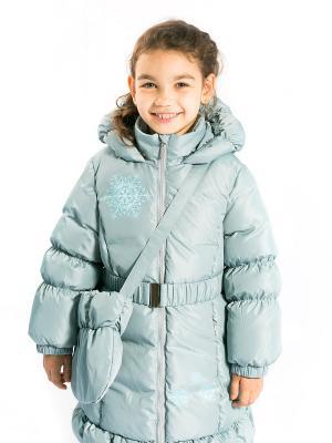 Пальто Алиса с сумочкой, пуховое Аксарт. Цвет: серо-голубой