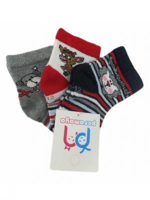 Носки детские, 3 пары PERA MAYA. Цвет: белый, черный, серый