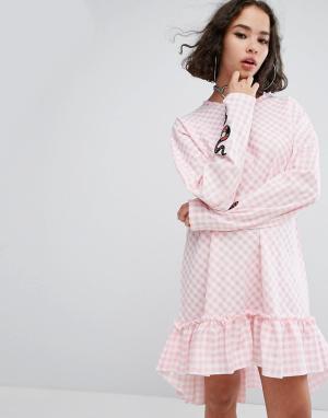 The Ragged Priest Платье с оборкой Cottonmouth. Цвет: розовый