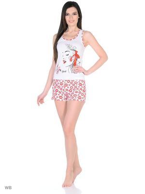 Пижама-майка, шорты NAGOTEX. Цвет: белый, красный