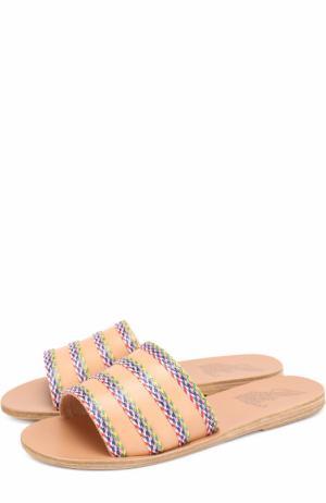 Кожаные шлепанцы Taygete с плетением Ancient Greek Sandals. Цвет: синий