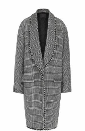 Шерстяное пальто в клетку с кожаной отделкой Alexander Wang. Цвет: серый