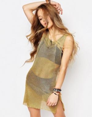 Ebonie n ivory Фестивальное трикотажное платье с оттенком металлик. Цвет: золотой