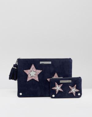 Dune Две бархатные сумочки в подарочном наборе. Цвет: темно-синий