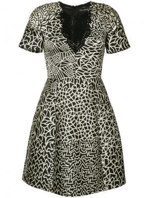 Платье с графическим узором дизайна пэчворк Yigal Azrouel. Цвет: чёрный