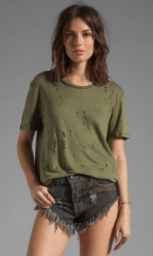 Рваная футболка clay IRO. Цвет: военный стиль