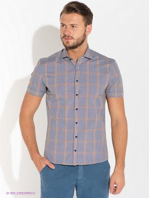 Рубашка Alfred Muller. Цвет: темно-синий, оранжевый