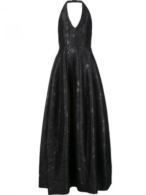 Расклешенное платье с открытой спиной Halston Heritage. Цвет: чёрный