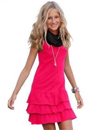 , платье с воланом для девочек CFL. Цвет: ярко-розовый