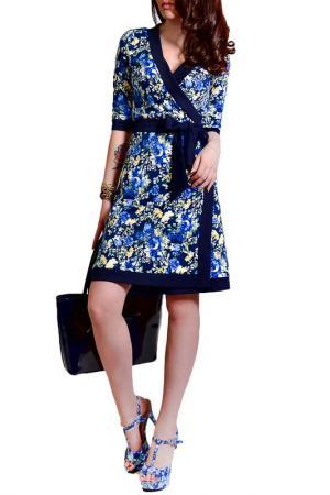 Платье FRANCESCA LUCINI. Цвет: синий, желтый