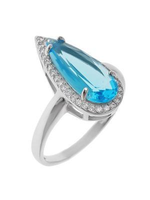 Кольцо BALEX. Цвет: лазурный, голубой, серебристый
