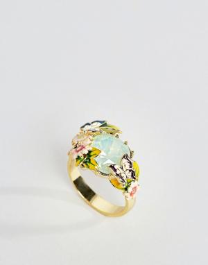 Bill Skinner Кольцо с искусственным хризолитовым опалом. Цвет: золотой