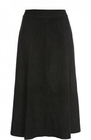 Замшевая юбка Alice + Olivia. Цвет: черный
