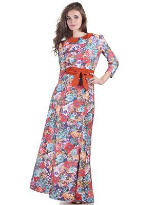 Платье OLIVEGREY. Цвет: темно-синий, оранжевый, красный