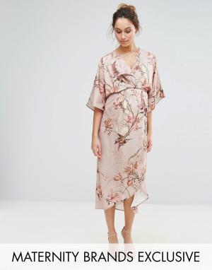 Hope and Ivy Maternity Платье-кимоно миди с принтом птиц &. Цвет: серый