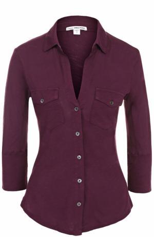 Приталенная блуза с укороченным рукавом James Perse. Цвет: бордовый