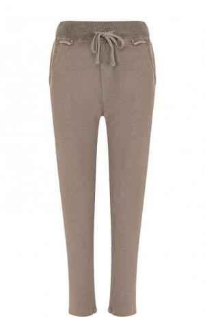 Однотонные хлопковые брюки с эластичным поясом James Perse. Цвет: бежевый