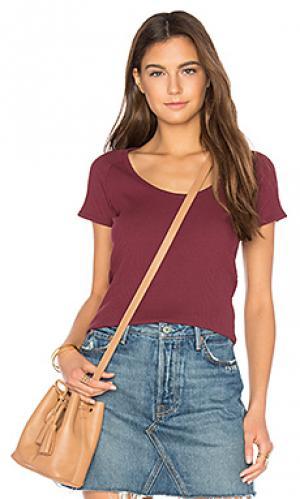 Классическая футболка в рубчик ROLLAS ROLLA'S. Цвет: красный