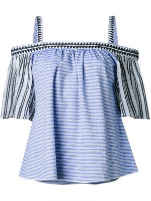Блузка с открытыми плечами Lemlem. Цвет: синий