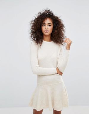 Ganni Трикотажное платье из пряжи с добавлением шерсти Mercer. Цвет: кремовый