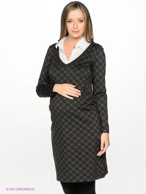 Платье UNIOSTAR. Цвет: темно-серый, белый, коричневый