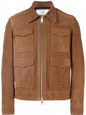 Замшевая куртка на молнии Ami Alexandre Mattiussi. Цвет: телесный