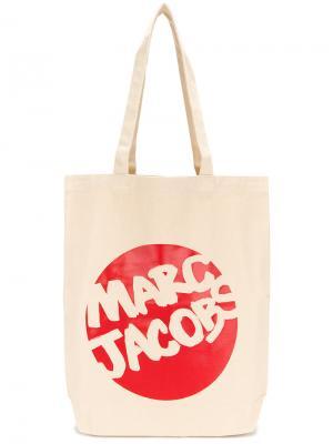 Сумка-тоут с принтом-логотипом Marc Jacobs. Цвет: телесный