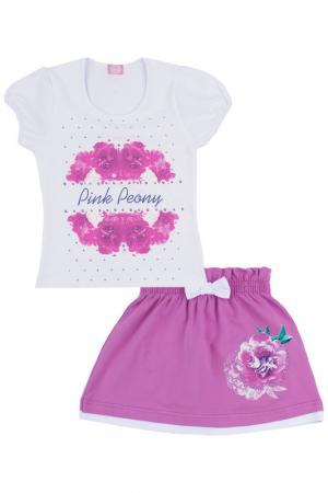 Комплект: джемпер, юбка Апрель. Цвет: белый, розовый, малиновый