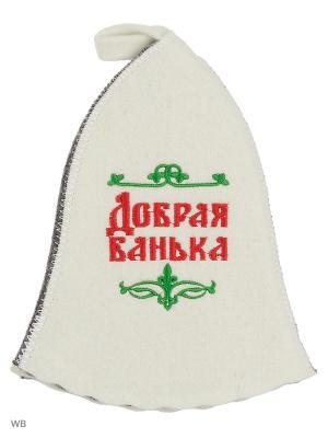 Шапка для бани с вышивкой в косметичке Добрая банька Метиз. Цвет: белый, серый