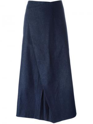 Джинсовая юбка асимметричного кроя Charlie May. Цвет: синий