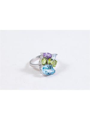Кольцо с аметистом, топазом, хризолитом PROsilver. Цвет: зеленый, голубой, фиолетовый