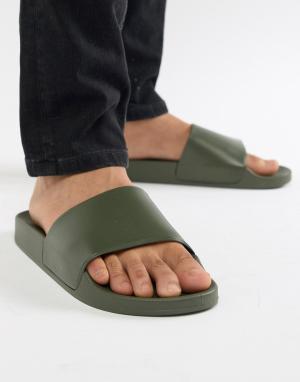 New Look Темные шлепанцы хаки. Цвет: зеленый